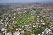 stock photo of piestewa  - Lush Golf Course in the foreground of Piestewa Peak in Phoenix Arizona - JPG