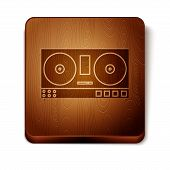 Brown Dj Remote For Playing And Mixing Music Icon Isolated On White Background. Dj Mixer Complete Wi poster