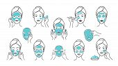 Facial Mask Set. Skin Care And Health Infographic Elements, Girl Face With Facial Mask Applying Step poster