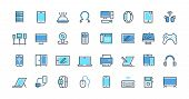 Electronic Devices Line Icons. Desktop Computer, Laptop And Smart Gadgets Outline Pictograms. Vector poster