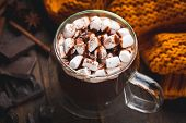 Mug Of Hot Chocolate With Marshmallows And Chocolate Syrup. Closeup View. Double Bottom Glass Mug Wi poster