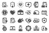 Medical Rx Icons. Hospital Assistance, Ambulance, Health Food Diet, Laboratory Tubes Icons. First Ai poster
