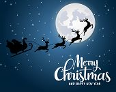 Christmas Santa Claus Riding Reindeer Vector Background Design. Merry Christmas And Happy New Year G poster