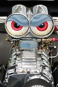 image of dragster  - Engine details on custom and old cars at a car show