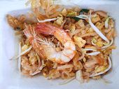 Thai Food Style, Top View Of Stir Fried Rice Noodle With Shrimp On White Plate As A Background, Read poster