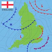 England. Realistic Synoptic Map Of The England Showing Isobars And Weather Fronts. Meteorological Fo poster