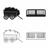 Vector Illustration Of Countryside And Plant Icon. Collection Of Countryside And Farming Vector Icon poster