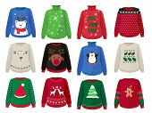 Christmas Sweaters. Funny Ugly Clothes With Christmas Decoration Vector Cartoons. Knitwear Handmade  poster