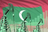 Maldives Oil And Petrol Industry Concept, Industrial Illustration On Maldives Flag Background. 3d Il poster