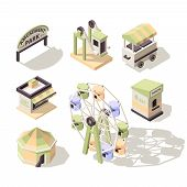 Amusement Isometric. Carousel Fun Park For Kids With Attractions Big Wheel Electro Cars Swing Vector poster