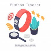 Fitness Tracker Concept Banner. Isometric Illustration Of Fitness Tracker Vector Concept Banner For  poster