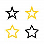 Stars Vector Icons. Star Yellow Icons. Star Black. Stars Black And Gold Color, Isolated On White Bac poster