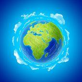 pic of eastern hemisphere  - Beautiful Earth with clouds - JPG