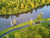 Scenic Aerial View Of A Lake In Autumn Forest In Northern France, Yvelines, France poster