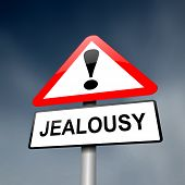 pic of envy  - Illustration depicting a red and white triangular warning sign with a jealousy concept - JPG