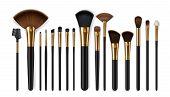 Makeup Brush Vector Mockups Of Beauty Cosmetics 3d Design. Blush, Eyeshadow And Contour, Eyebrow Com poster