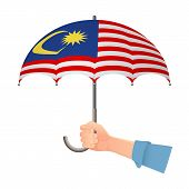 Malaysia Flag Umbrella. Weather Symbols. National Flag Of Malaysia Vector Illustration poster