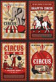 Circus And Carnival Vintage Poster With Retro Big Top Tent, Acrobats And Animals On Cirque Arena. Ve poster