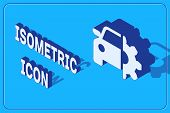 Isometric Car Service Icon Isolated On Blue Background. Auto Mechanic Service. Mechanic Service. Rep poster