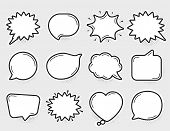 Comic Speech Bubbles Vector. Thinking And Speaking Clouds. Retro Bubbles Shapes. Balloons With Halft poster