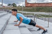 Athletic Man, Push Ups From Concrete Steps, Summer Afternoon Training In The City, Active Lifestyle, poster