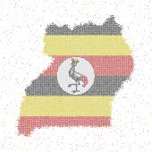 Map Of Uganda. Mosaic Style Map With Flag Of Uganda. Vector Illustration. poster