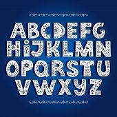 Bold Alphabet Decorated With Nordic Folk Ornaments poster