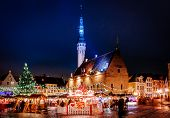 Christmas Market At Town Hall Square In The Old Town Of Tallinn, Estonia poster