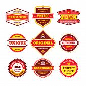 Business Badge Vector Set In Retro Design Style. Abstract Logo. Premium Quality. Satisfaction Guaran poster