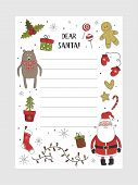 Cartoon Christmas Wish Christmas Items. A Letter To Santa Claus Template. Christmas Background With  poster
