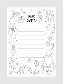 Cartoon Christmas Wish Christmas Items. Coloring Page. A Letter To Santa Claus Template. Christmas B poster