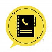 Black Phone Book Icon Isolated On White Background. Address Book. Telephone Directory. Yellow Speech poster