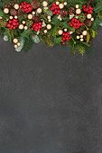 Christmas background border with gold bauble decorations and winter flora and fauna on grunge grey b poster