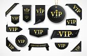 Vip Label, Badge Or Tag. Vector Black Banner With Gold Vip Text. Vector Illustration poster