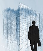 Businessman And Office Architecture Wireframe