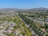 Aerial View Suburban Neighborhood With Big Villas Next To Each Other In San Diego, California, Usa.  poster