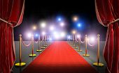 3d image render of a red carpet with velvet curtains and flash in the background. Concept of celebri poster