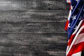 American Flag On Dark Background. Flag Veterans Day Concept poster