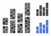 Bar Charts Mosaic Of Spheric Dots In Variable Sizes And Color Hues, Based On Bar Charts Icon. Vector poster