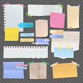 Sticky Paper Notes Or Set Of Isolated Stickers. Note With Tape Or Pinned Post, Blank Or Empty Office poster