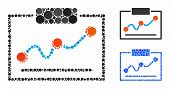 Chart Mosaic Of Filled Circles In Different Sizes And Color Tints, Based On Chart Icon. Vector Fille poster