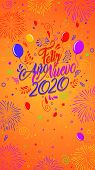 Greeting Card With The Message: Feliz Ano Nuevo 2020 - Happy New Year 2020 In Spanish Language - Car poster