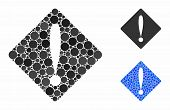 Problem Mosaic Of Spheric Dots In Different Sizes And Shades, Based On Problem Icon. Vector Dots Are poster