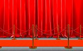 red carpet with gold-colored barriers and red rope, velvet curtains. 3d image render. concept of cel poster