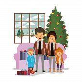 Family Members Celebrating Christmas In The Livingroom Vector Illustration Design poster