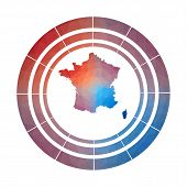 France Badge. Bright Gradient Logo Of Country In Low Poly Style. Multicolored France Rounded Sign Wi poster