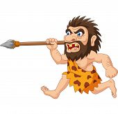 Vector Illustration Of Cartoon Caveman Hunting With Spear poster