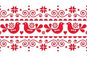 Scandinavian Christmas Folk Art Vector Seamless Pattern With Flowers, Birds And Snowflakes, Nordic F poster