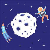 Astronaut And Rocket Soar In Space Near The Moon. Landing On A Satellite. Lunar Mission. Space Excur poster