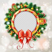 Decorative Christmas Wreath With Red Bow, Candy, Baubles And Christmas Decoration. Frame With Transp poster